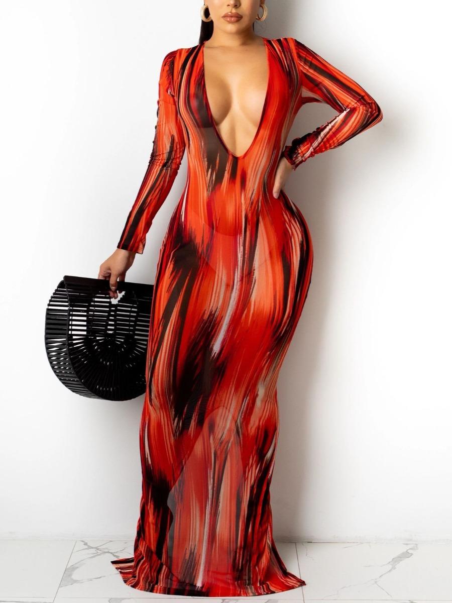 LW SXY Mixed Print Split Bodycon Dress