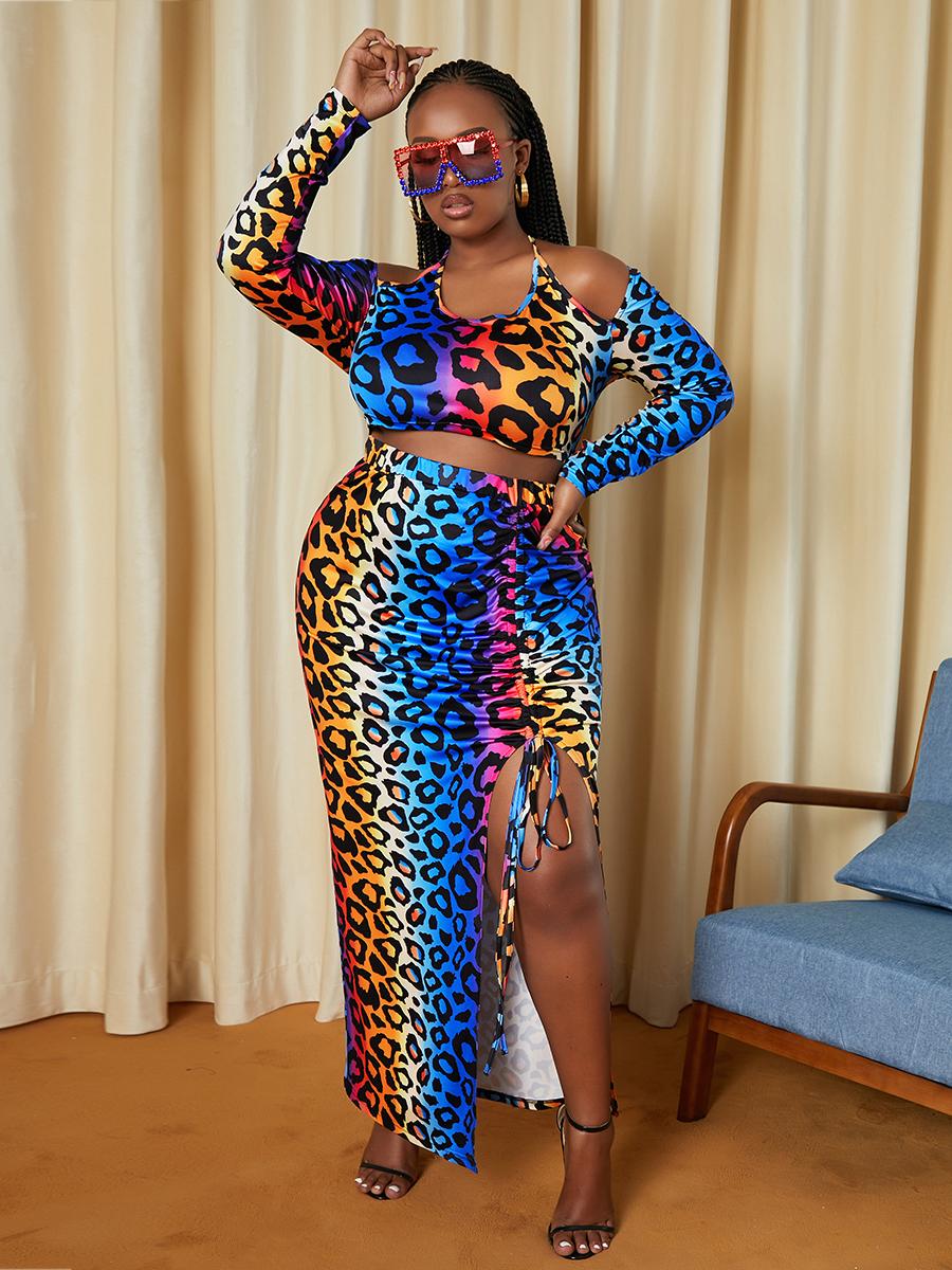 LW Plus Size Leopard Print Drawstring Skirt Set