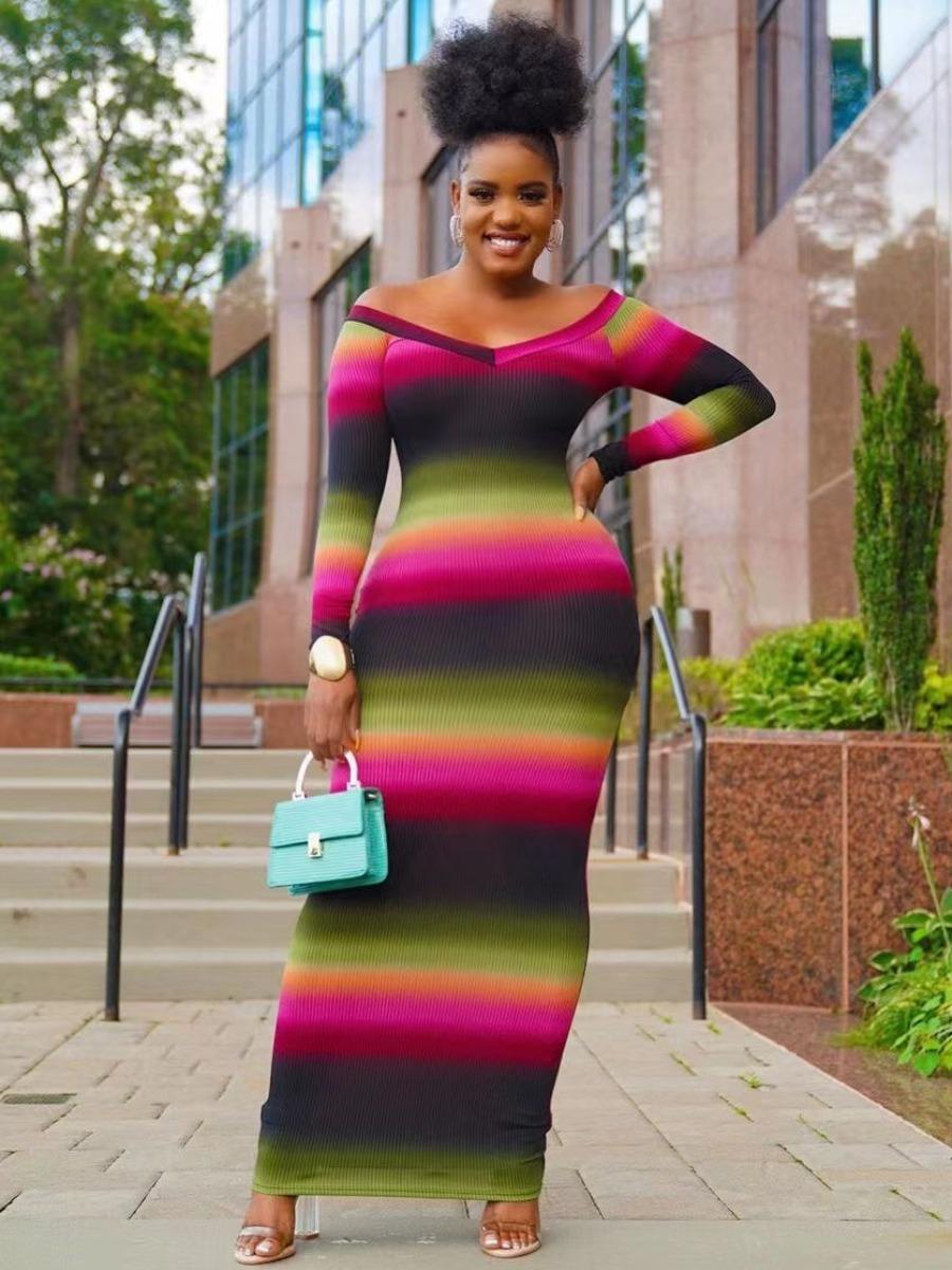 LW Gradient Striped Bodycon Dress