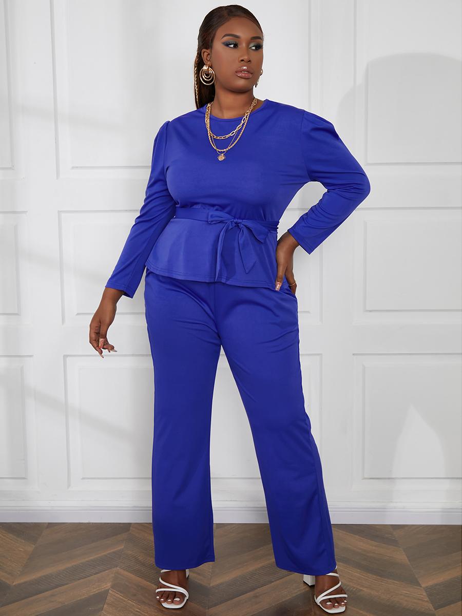 LW Plus Size Bandage Pocket Design Basic Pants Set