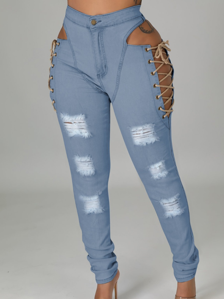 LW SXY Ripped Hollow-out Design Jeans