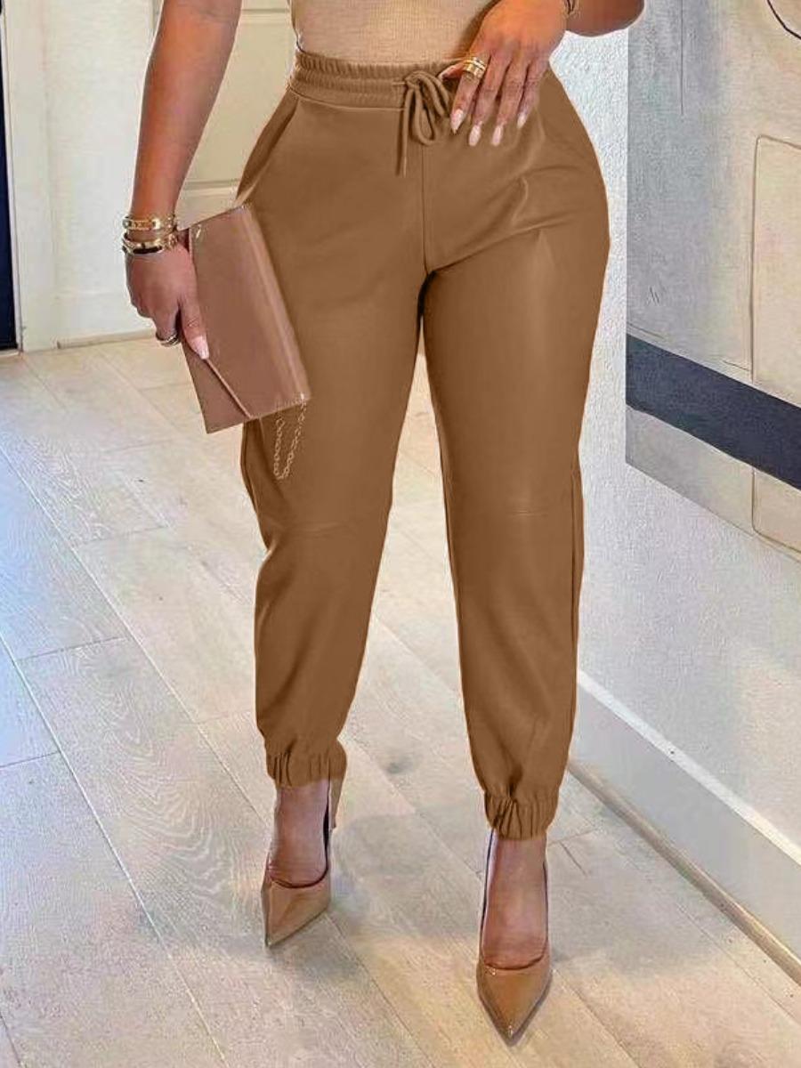 LW BASICS PU Mid Waist Solid Regular Pants