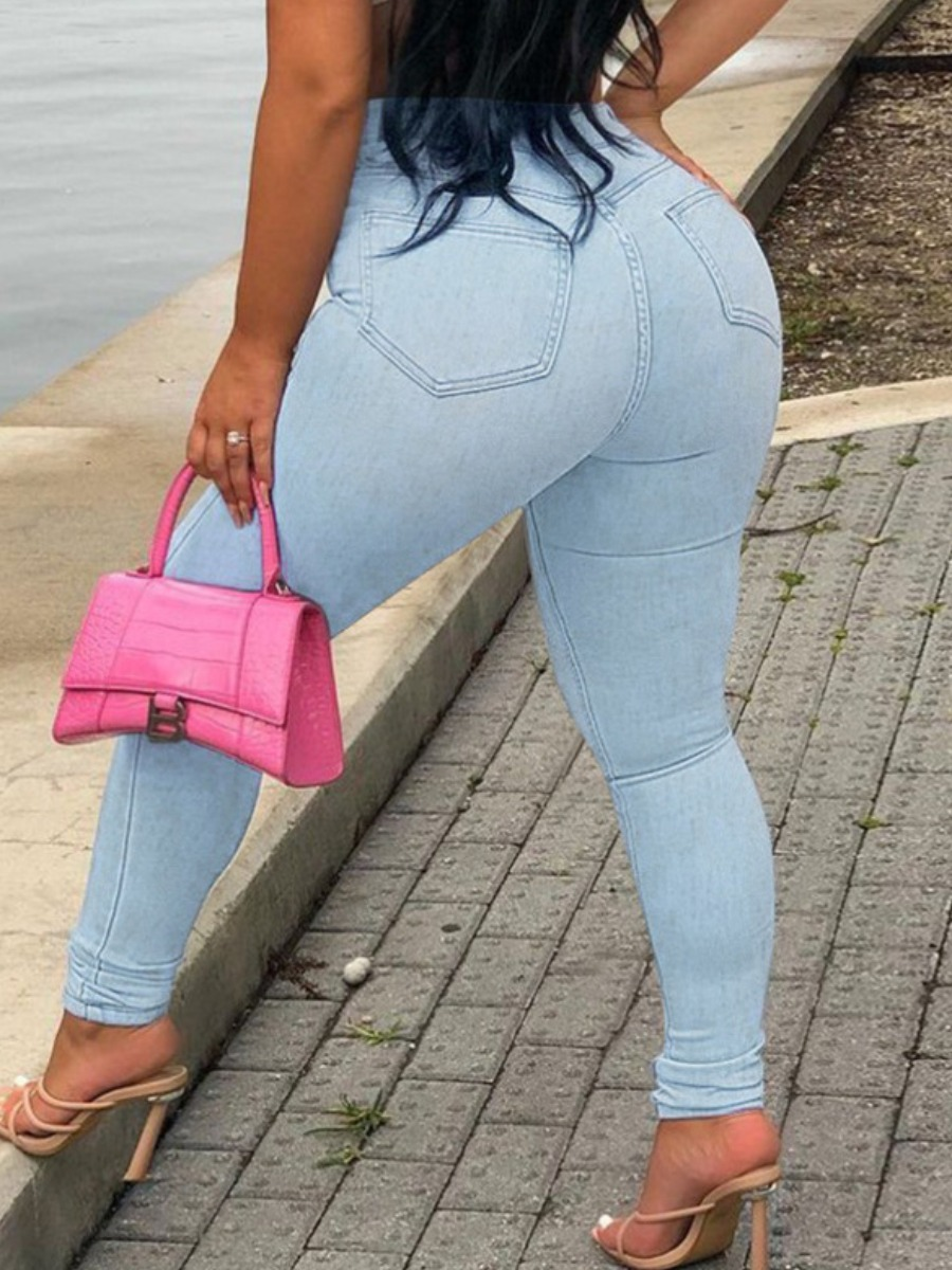 LW High Waist Ripped Solid Skinny Jeans