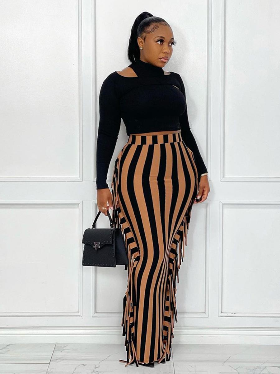 LW Plus Size Tassel Design Striped Bodycon Skirt