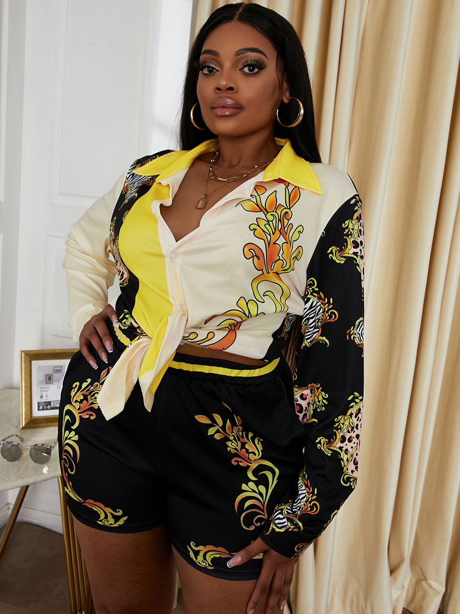 LW SXY Plus Size Tribal Print Patchwork Shorts Set