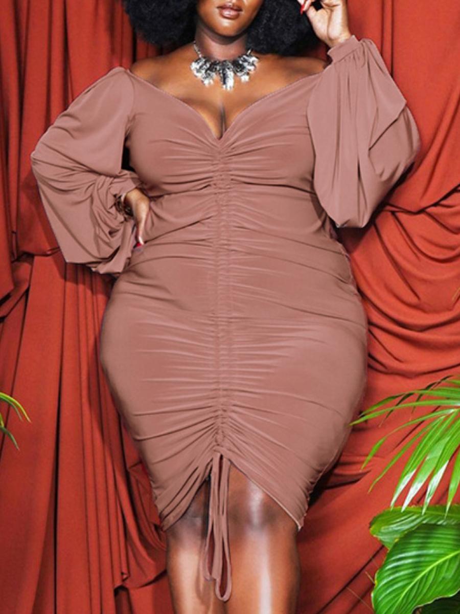 LW SXY Plus Size Drawstring Ruched Bodycon Dress