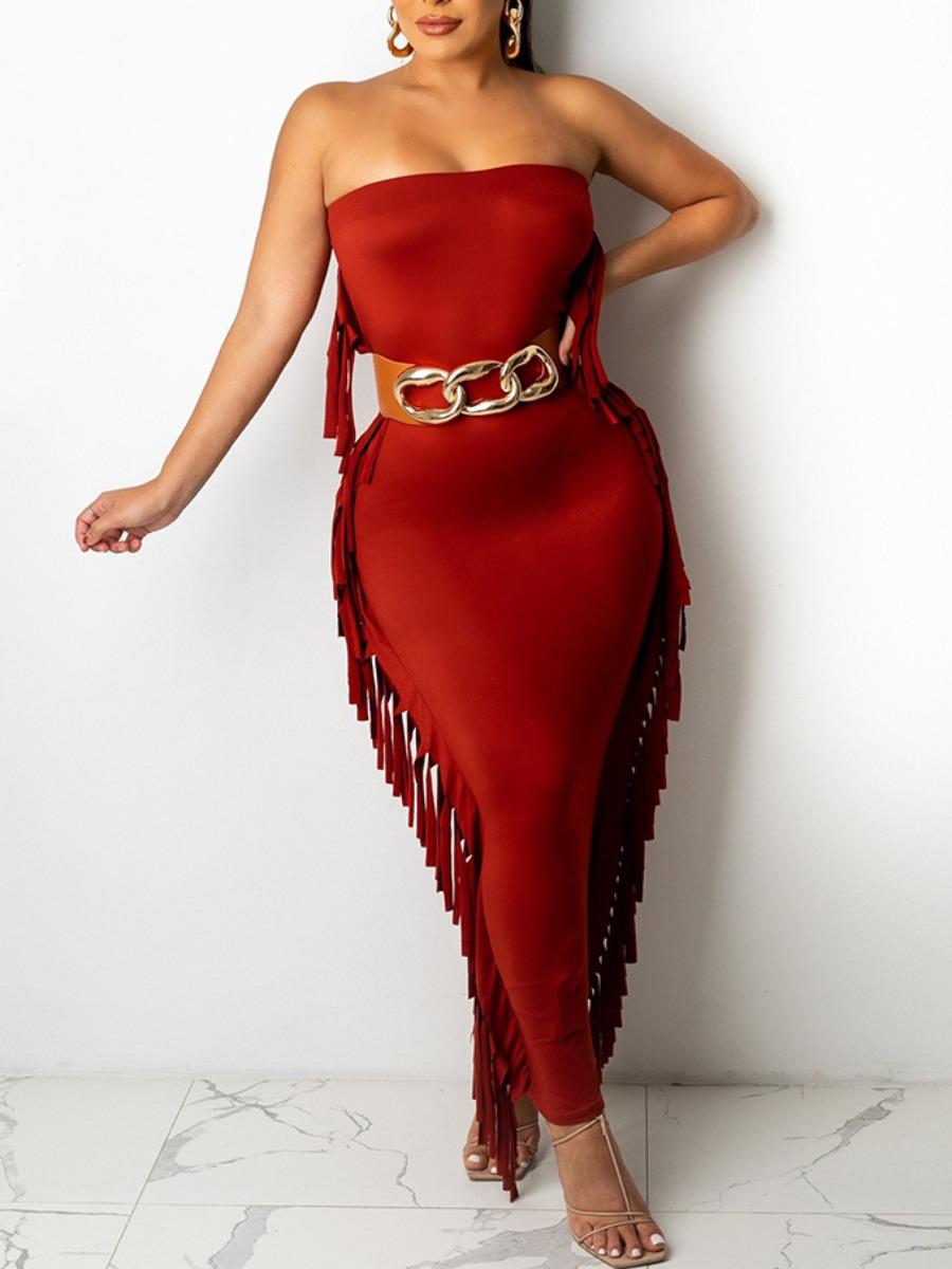LW Off The Shoulder Tassel Design Prom Dress (Without Belt)