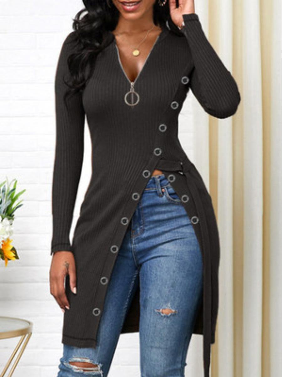 LW Zipper Design Split Ring Decor T-shirt