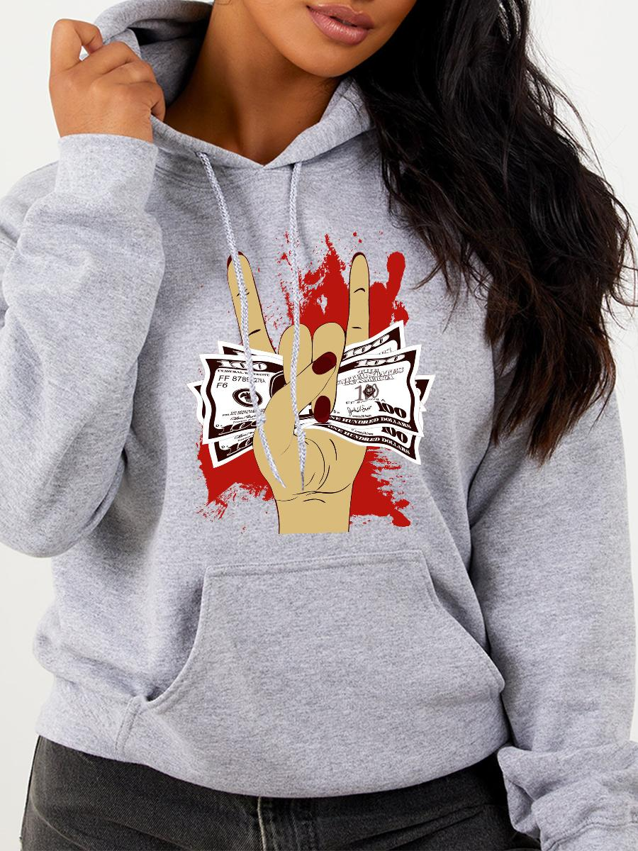 LW Plus Size Money Print Kangaroo Pocket Hoodie