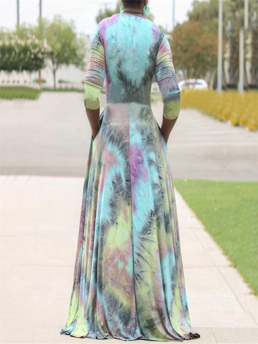 LW Plus Size V Neck Tie Dye Dress