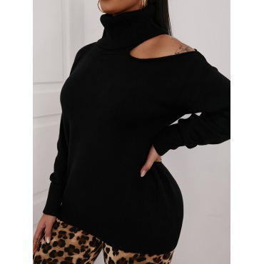 LW Turtleneck Hollow-out Design Sweater