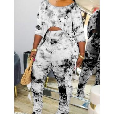 LW Casual Tie Dye Asymmetrical Black Two Piece Pants Set