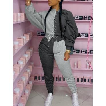 LW Sportswear O Neck Patchwork Bandage Design Grey Two Piece Pants Set