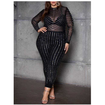 LW SXY Plus Size See-through Sequined Jumpsuit