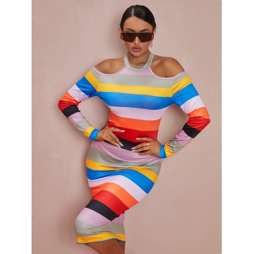 LW Cold Shoulder Striped Bodycon Dress