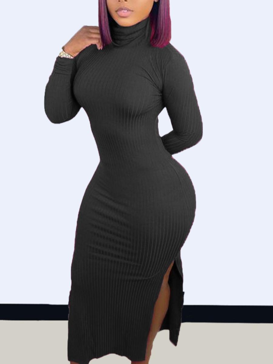 LW SXY Rib Knit Split Bodycon Dress