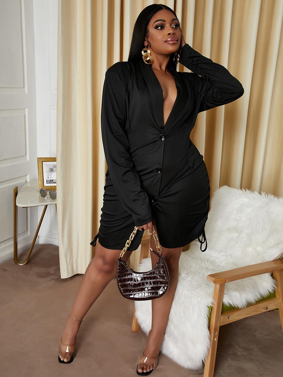 LW Plus Size Solid Drawstring Dress