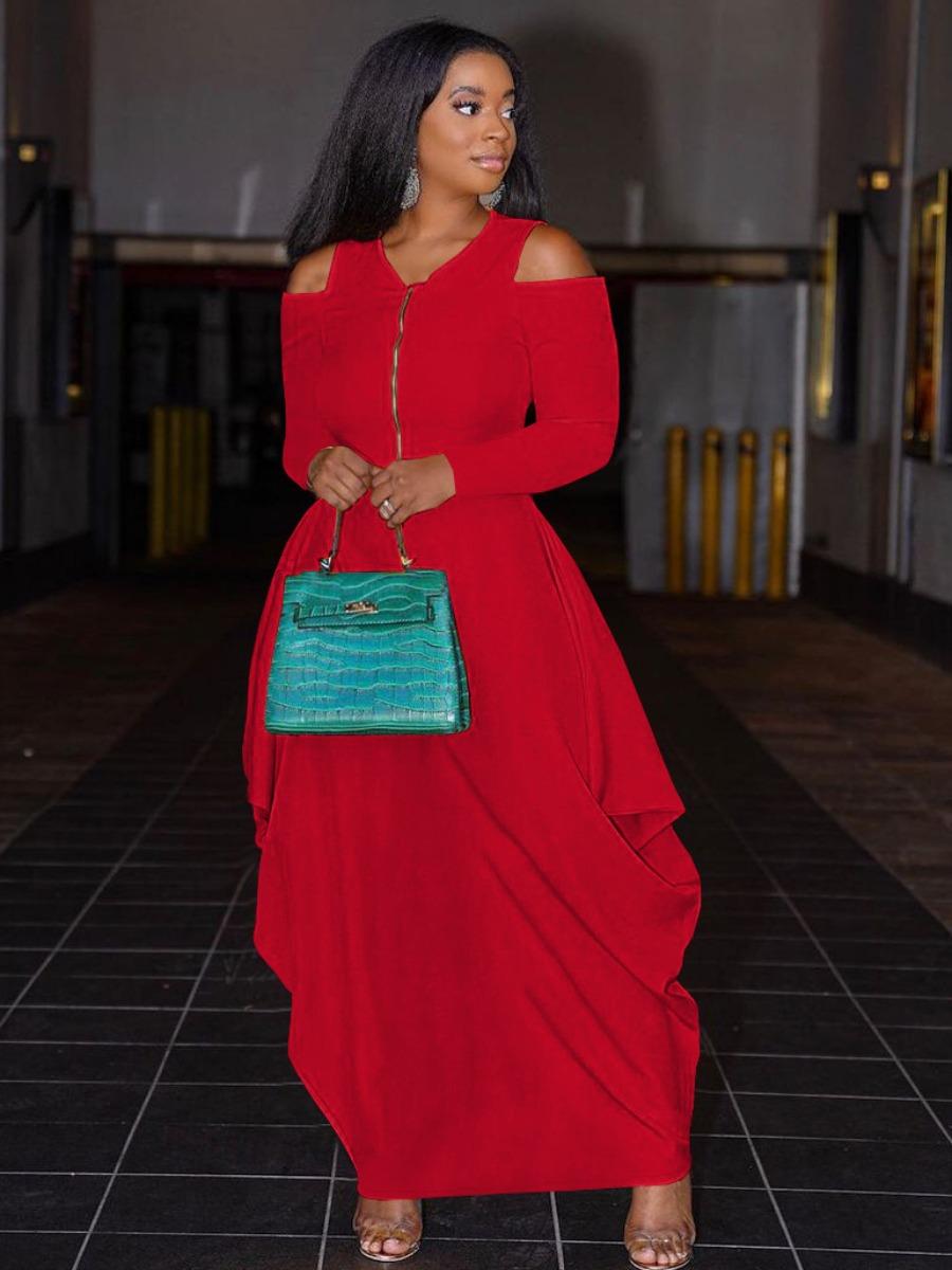 LW Zip Up Fold Design Dress