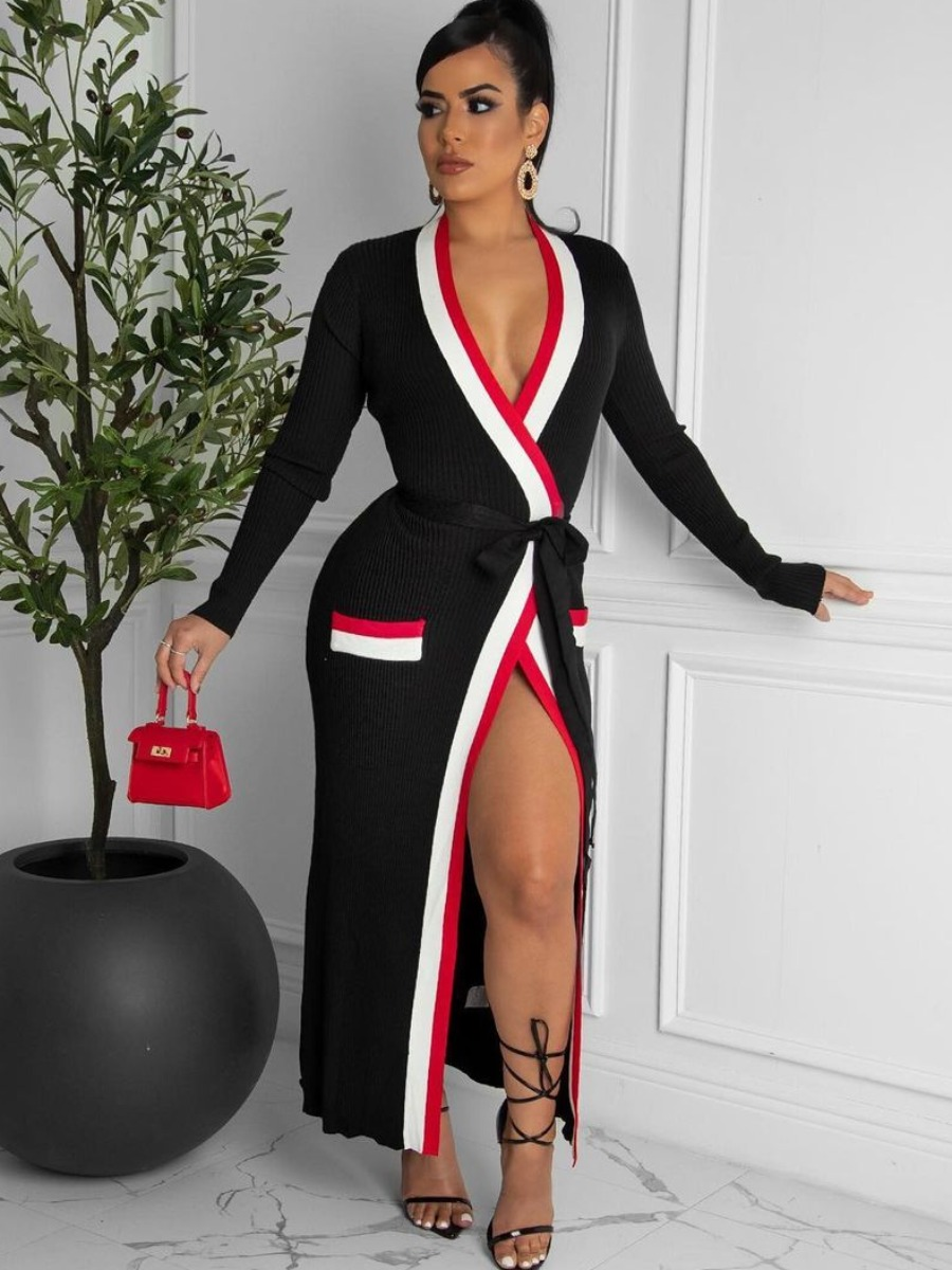 LW SXY Waist Tie Pocket Design Striped Dress