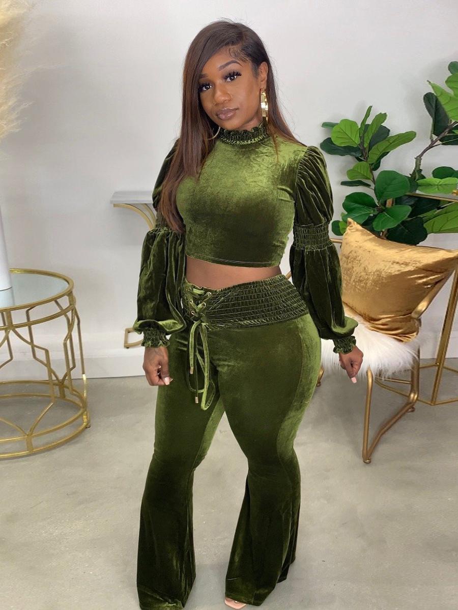 LW Plus Size Velvet Bandage Design Flared Pants Set