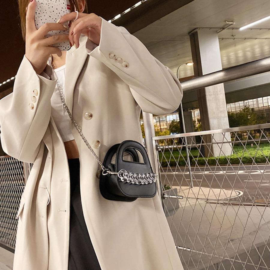 LW Clear Chain Decor Messenger Bag