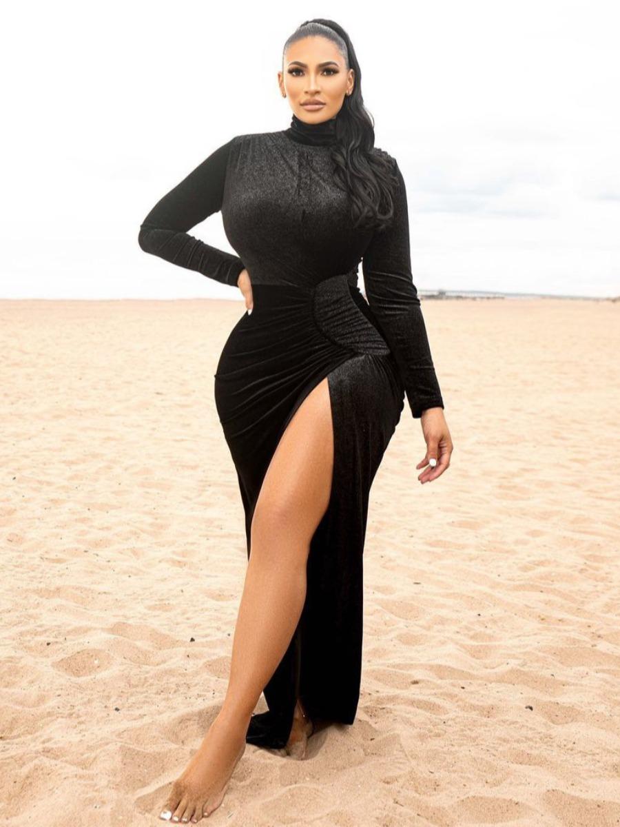 LW SXY Velvet High Split Bodycon Dress