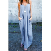 Casual V Neck Cotton Blend Light Grey Cotton Blend Ankle Length Dress(Without Accessories)