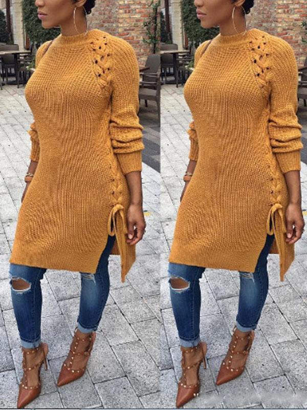 Baumwolle O-Ausschnitt Lange Ärmel Lange Pullover Pullover & Strickjacken