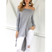 Leisure Dew Shoulder Asymmetrical Grey Cotton Blen