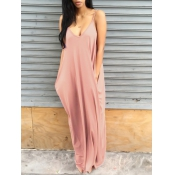 Casual V Neck Pink Blending Floor Length Dress