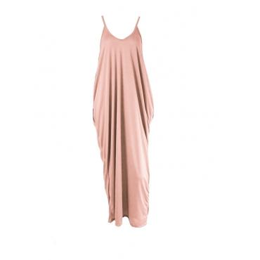 Casaco Casual V No Vestido Rosa