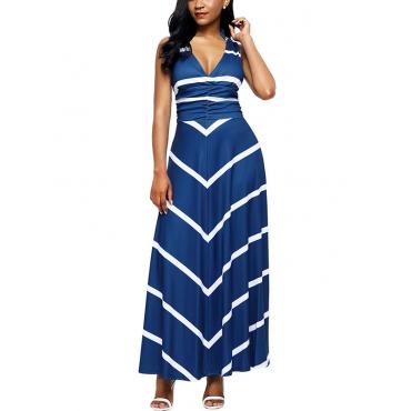 Fashion V Neck Striped Blue Polyester Ankle Length Dress