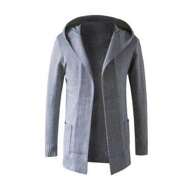 Stylish Hooded Collar Long Sleeves Grey Cotton Blends Coat