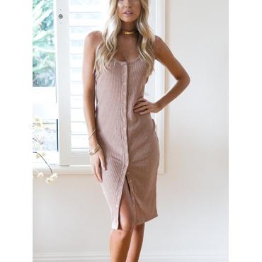 Stylish U-shaped Neck Single-breasted Design Pink Cotton Knee Length Dress