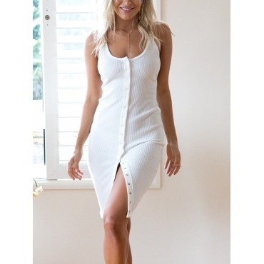 Stylish U-shaped Neck Single-breasted Design White Cotton Knee Length Dress