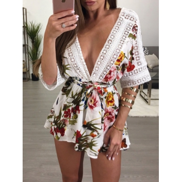 Sexy Deep V Neck Printed White Polyester One-piece Jumpsuits