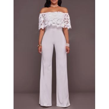 Stylish Dew Shoulder Falbala Design White Polyester One-piece Jumpsuits